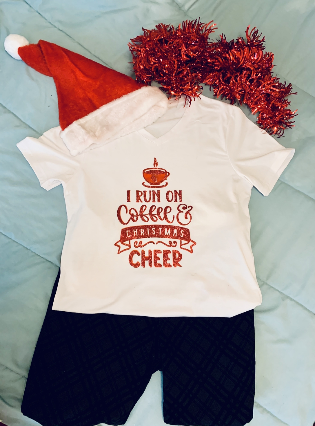 Cricut DIY Coffee and Christmas Cheer T-Shirt